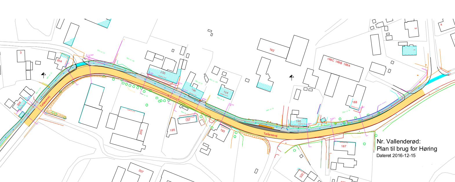 Teknisk tegning af sti gennem Nørre Vallenderød