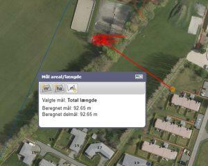 Måleskitse af afstand til nabo (92m)